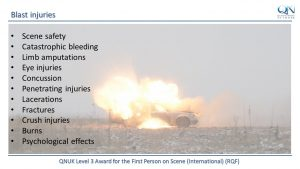 QNUK Level 3 Award for the First Person on Scene (International) (RQF) FPOS Intl Blast injuries